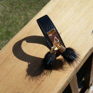 NWT Black Leather Fur Tassel Snap Adj Bracelet